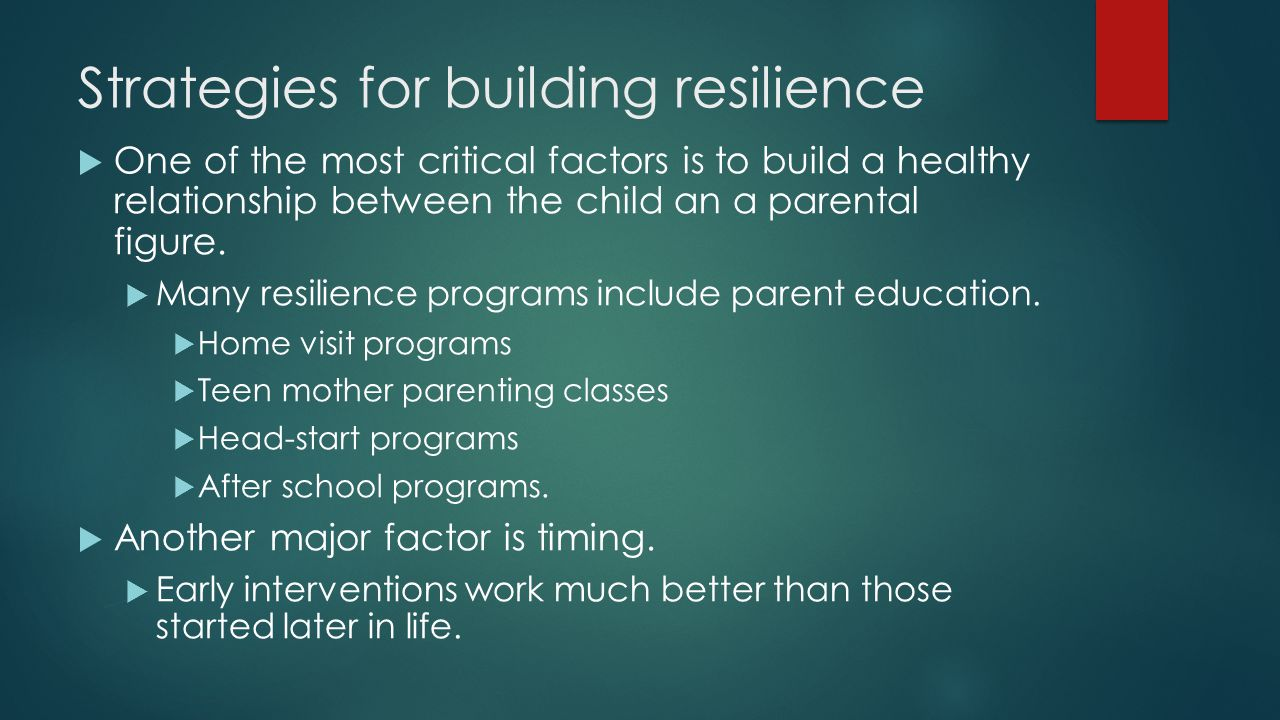 Strategies for building resilience