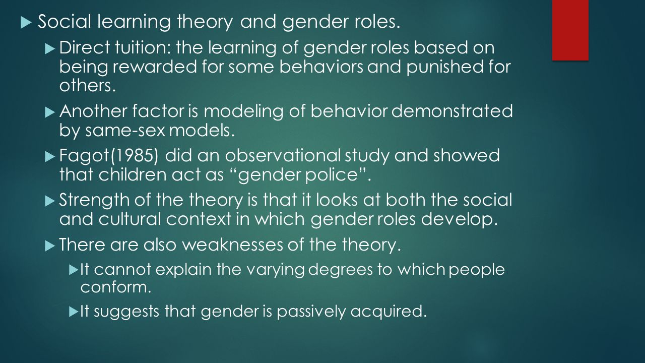 Social learning theory and gender roles.