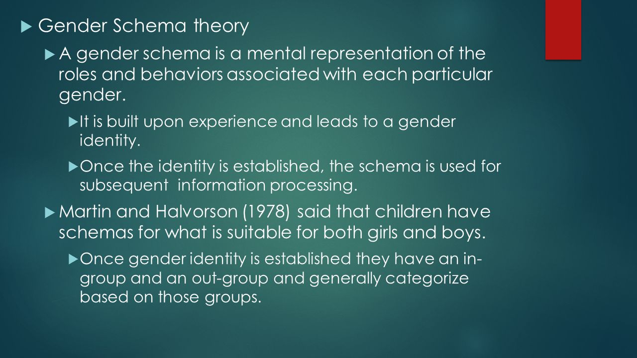 Gender Schema theory A gender schema is a mental representation of the roles and behaviors associated with each particular gender.