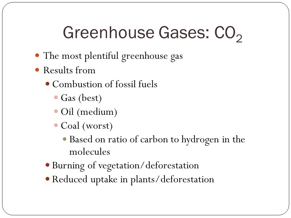 Greenhouse Gases: CO2 The most plentiful greenhouse gas Results from