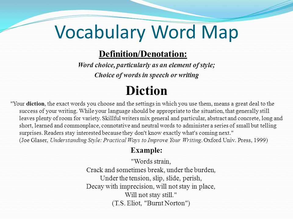 Vocabulary Word Map Diction Example: