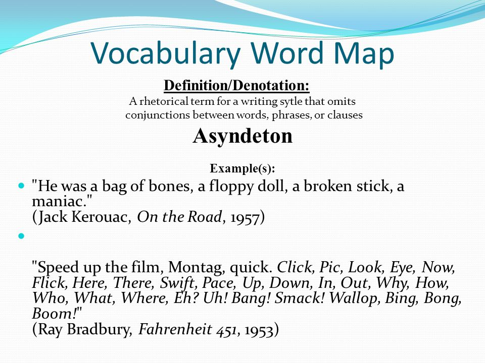 Vocabulary Word Map Asyndeton
