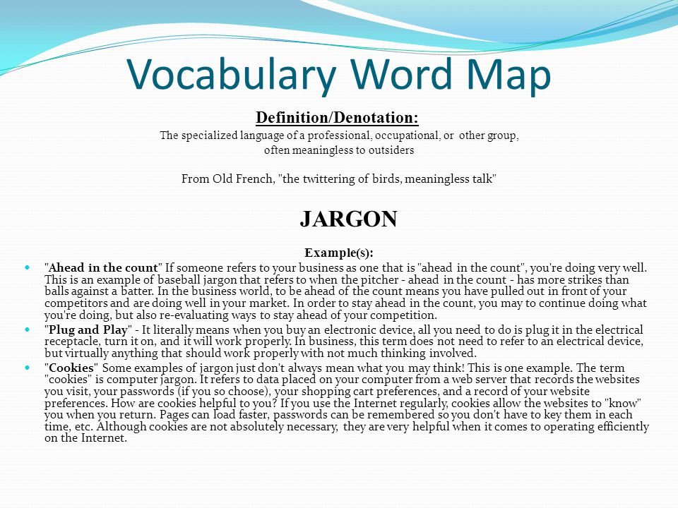 Vocabulary Word Map Example(s): Definition/Denotation: