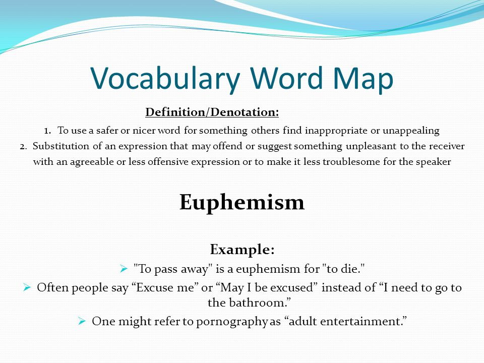 Vocabulary Word Map Euphemism Example: