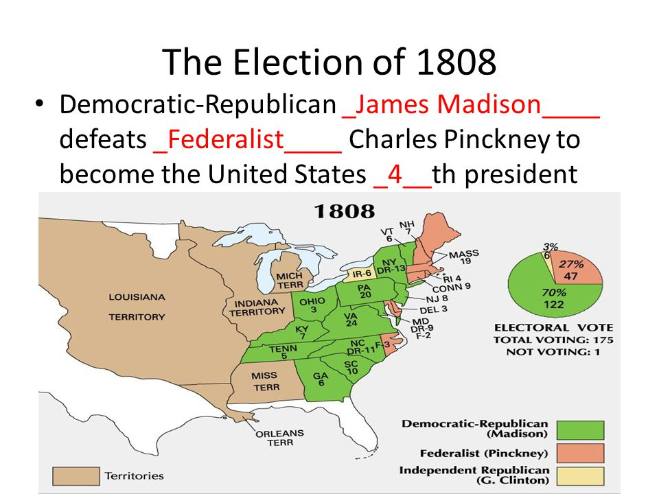 The Election of 1808 Democratic-Republican _James Madison____ defeats _Federalist____ Charles Pinckney to become the United States _4__th president.