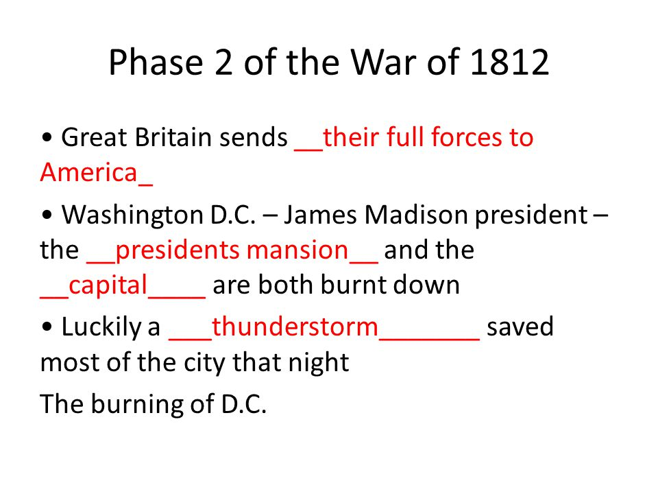 Phase 2 of the War of 1812