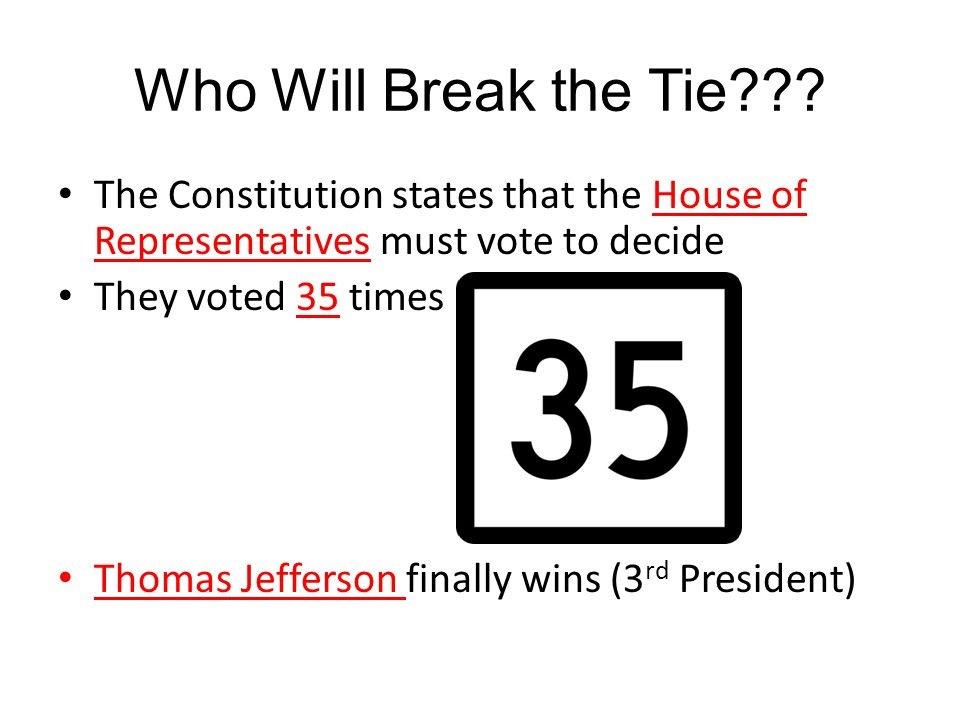 Who Will Break the Tie The Constitution states that the House of Representatives must vote to decide.