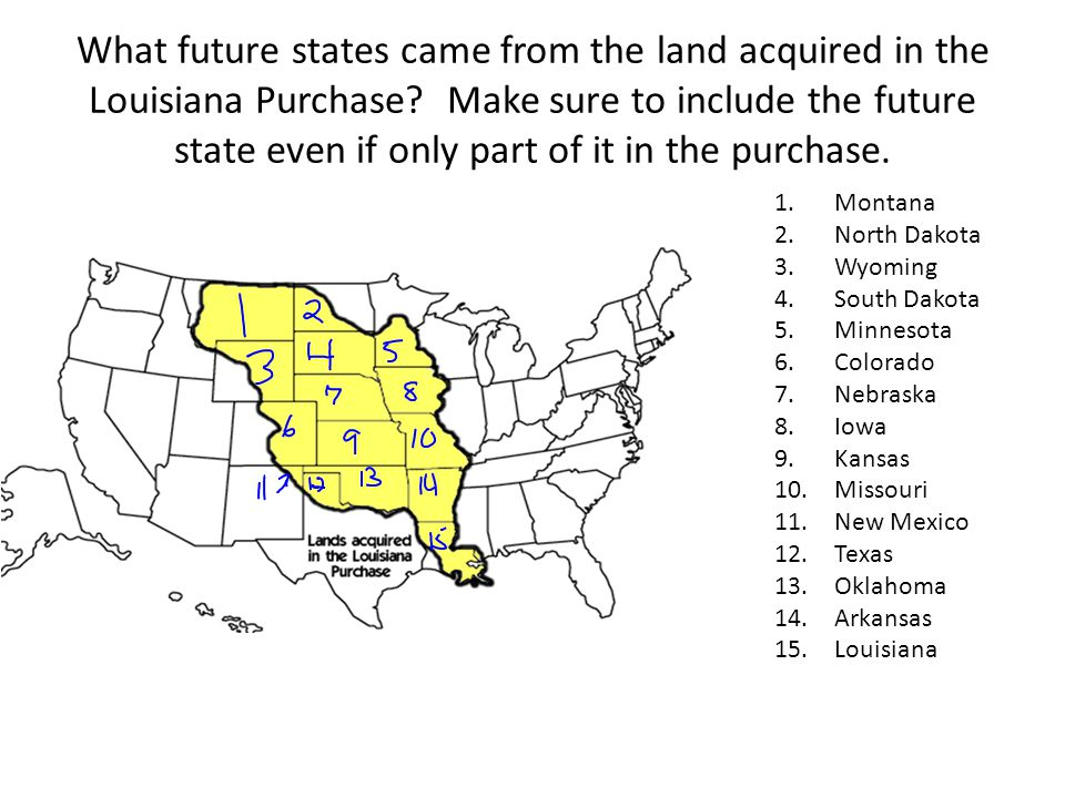 What future states came from the land acquired in the Louisiana Purchase Make sure to include the future state even if only part of it in the purchase.