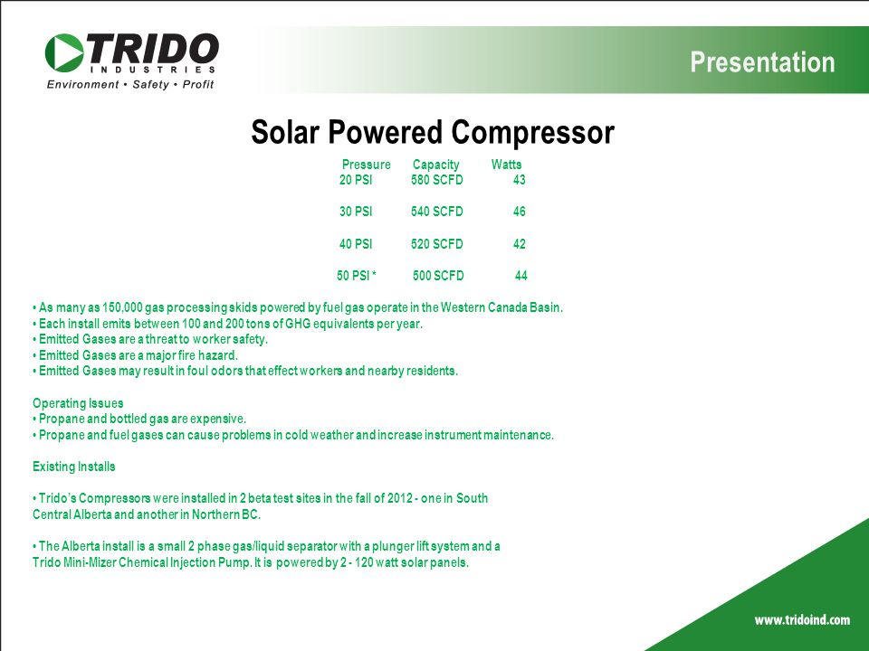 Solar Powered Compressor Pressure Capacity Watts