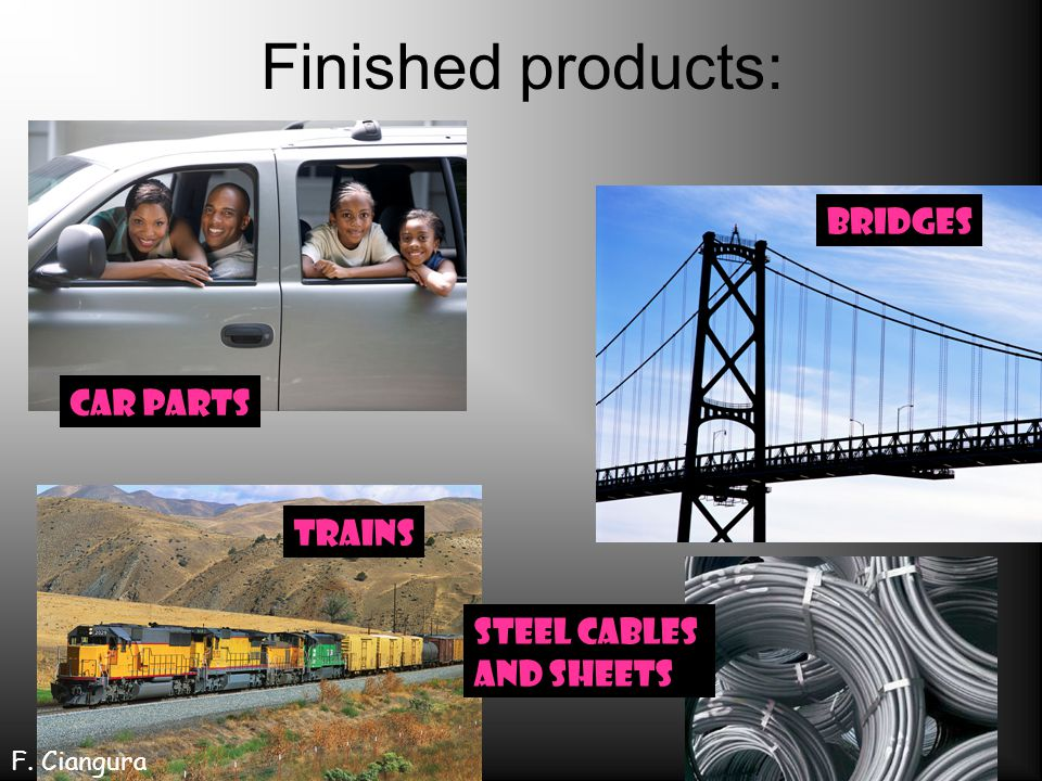 Finished products: bridges Car parts trains Steel cables and sheets