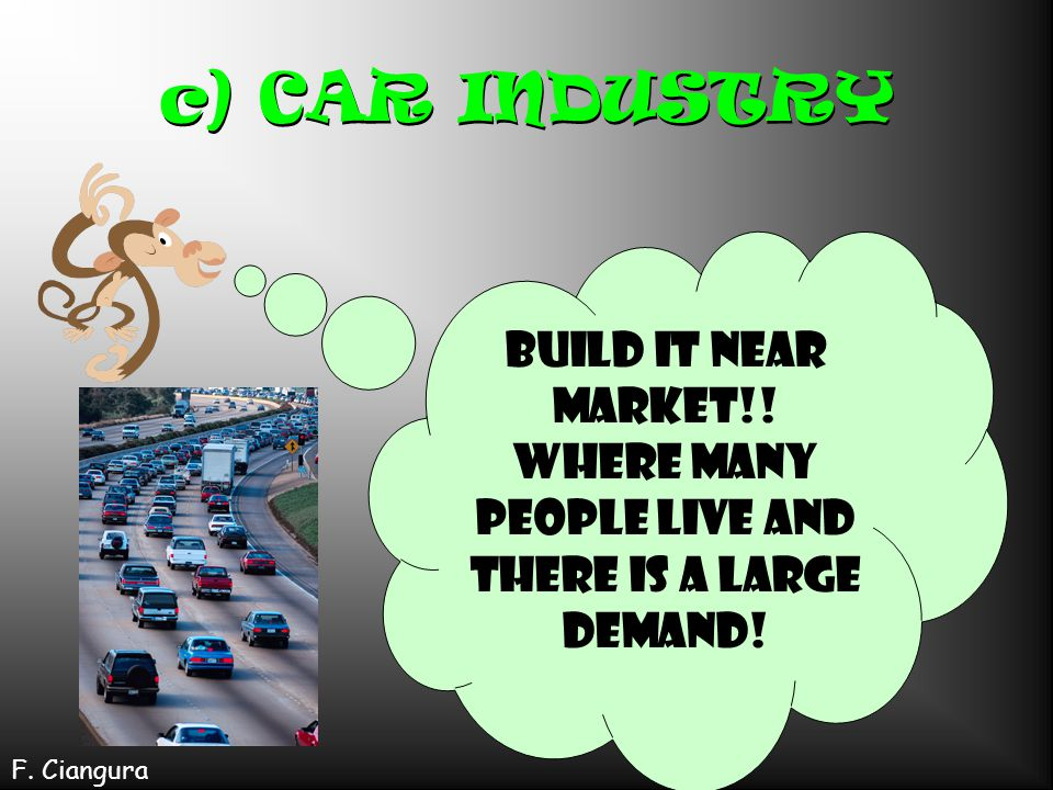 c) CAR INDUSTRY Build it near market!. Where many people live and there is a large demand.