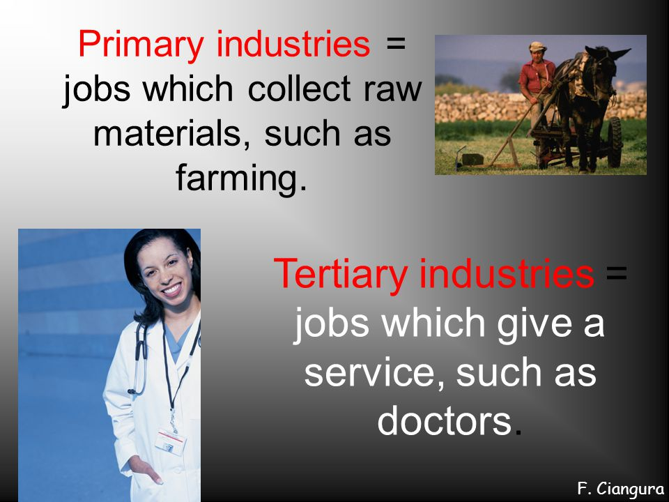 Tertiary industries = jobs which give a service, such as doctors.
