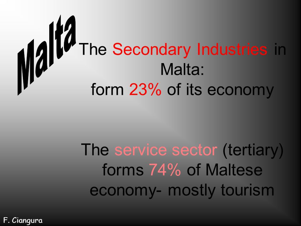 Malta The Secondary Industries in Malta: form 23% of its economy The service sector (tertiary) forms 74% of Maltese economy- mostly tourism.