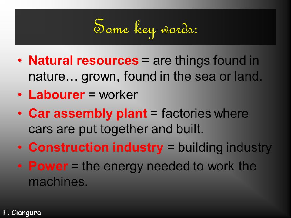 Some key words: Natural resources = are things found in nature… grown, found in the sea or land. Labourer = worker.