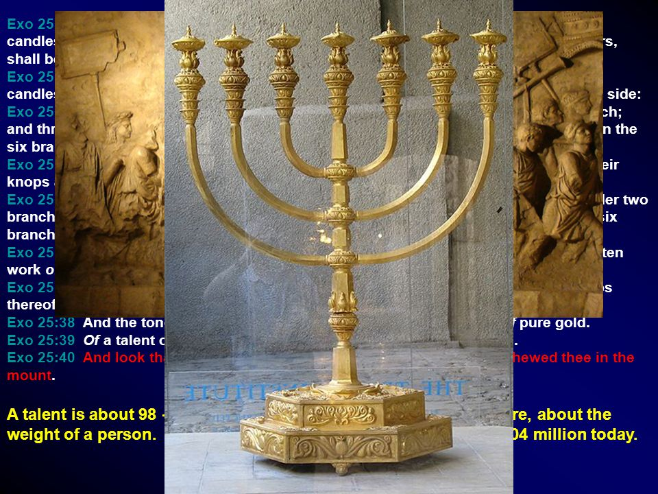 Exo 25:31 And thou shalt make a candlestick of pure gold: of beaten work shall the candlestick be made: his shaft, and his branches, his bowls, his knops, and his flowers, shall be of the same.