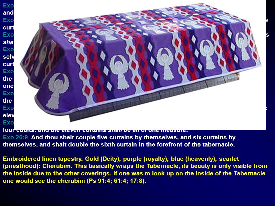 Exo 26:1 Moreover thou shalt make the tabernacle with ten curtains of fine twined linen, and blue, and purple, and scarlet: with cherubims of cunning work shalt thou make them.