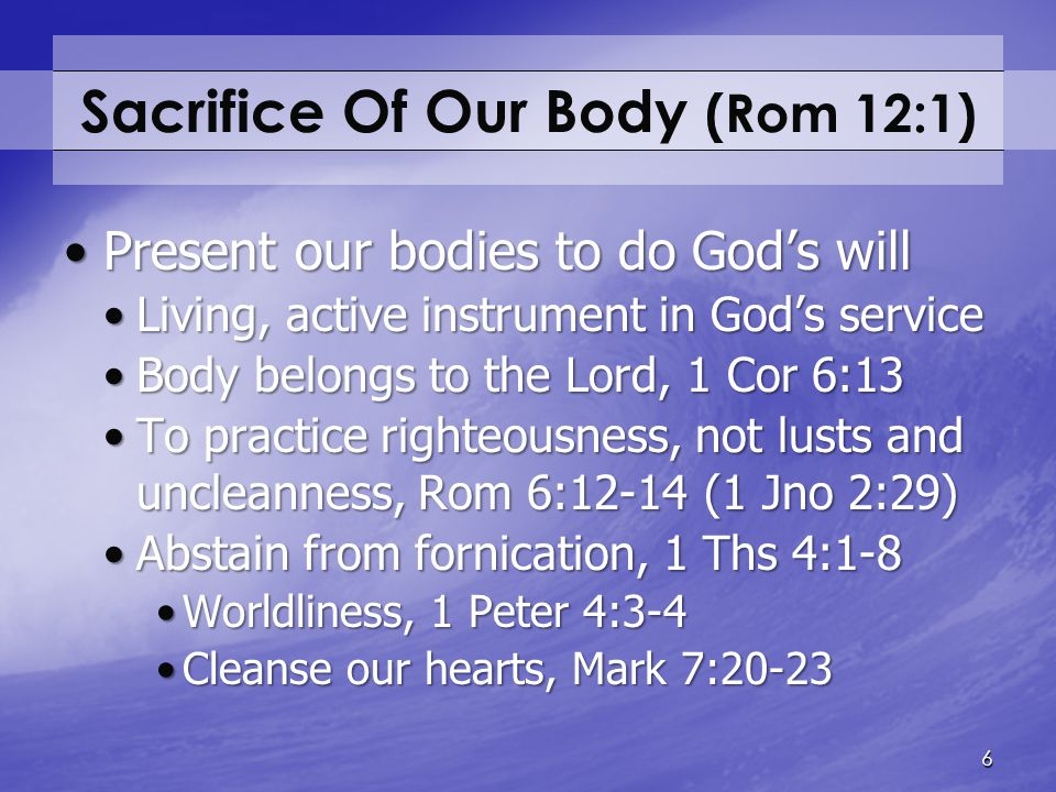 Sacrifice Of Our Body (Rom 12:1)