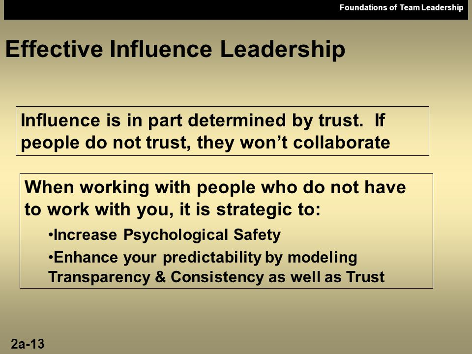 Effective Influence Leadership