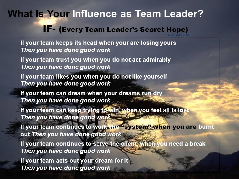 What Is Your Influence as Team Leader