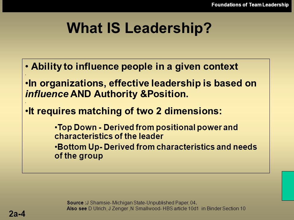 What IS Leadership Ability to influence people in a given context