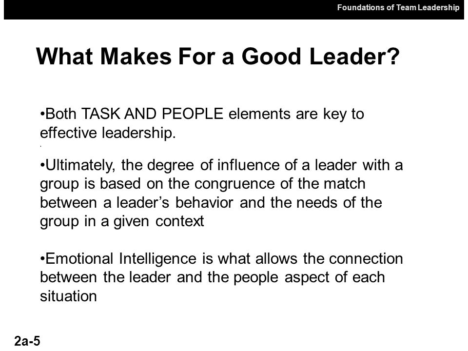 What Makes For a Good Leader