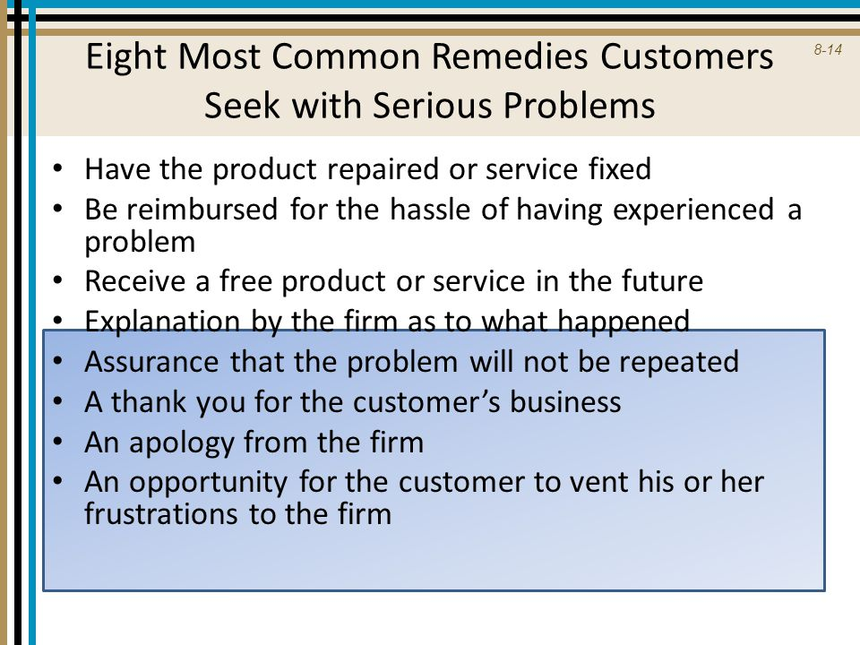 Eight Most Common Remedies Customers Seek with Serious Problems