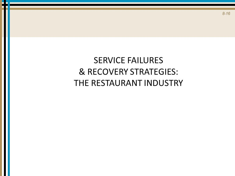 SERVICE FAILURES & RECOVERY STRATEGIES: THE RESTAURANT INDUSTRY