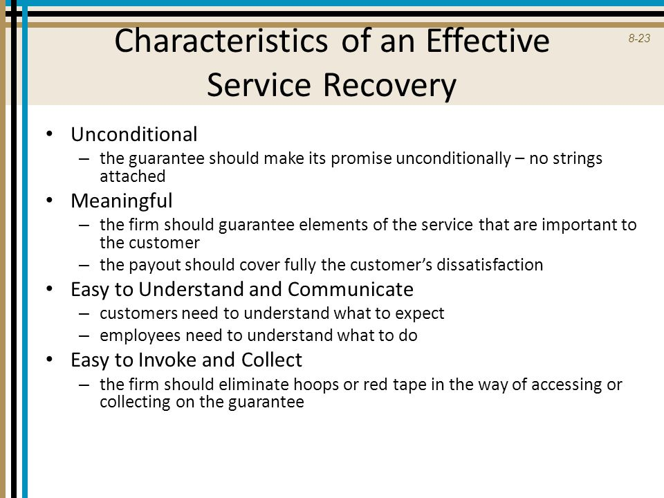 Characteristics of an Effective Service Recovery