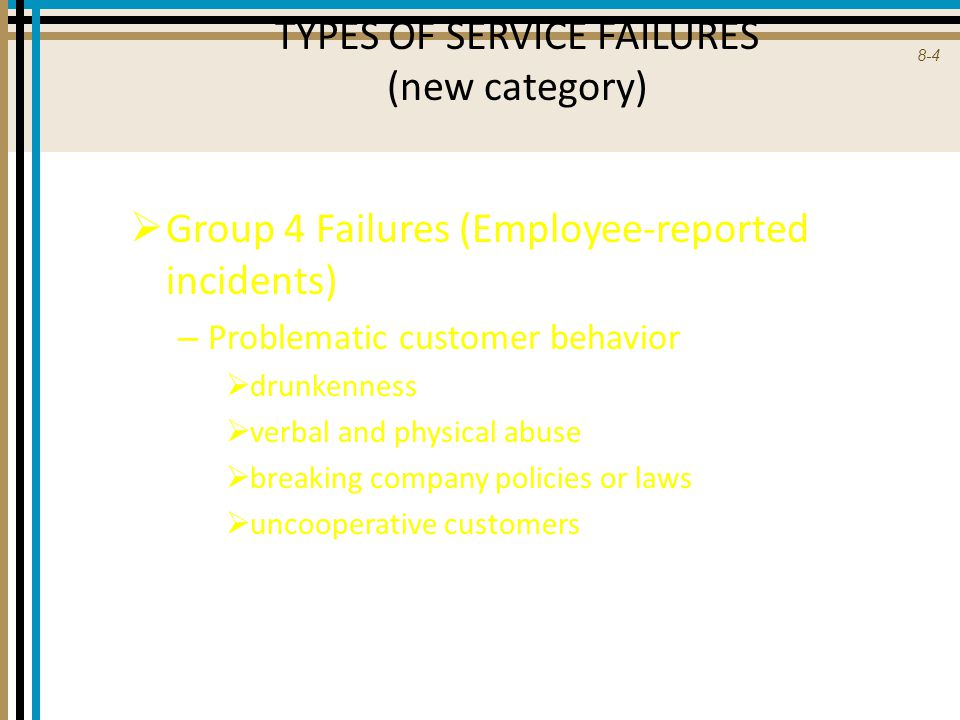 TYPES OF SERVICE FAILURES (new category)