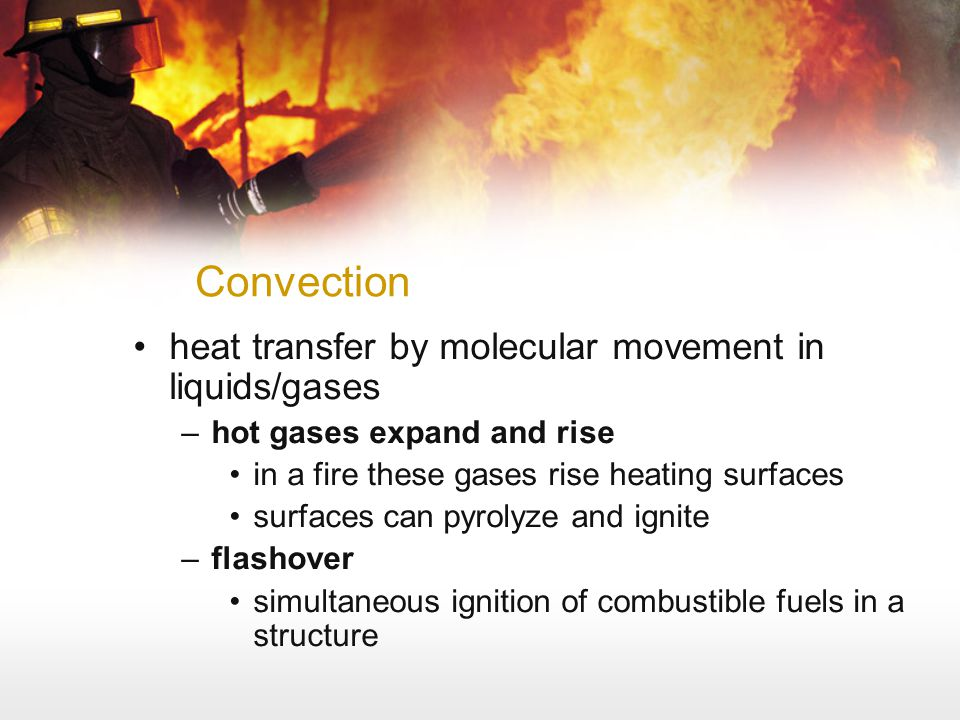Convection heat transfer by molecular movement in liquids/gases