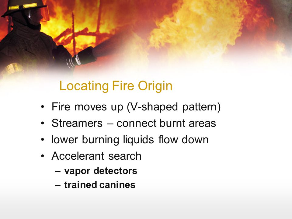 Locating Fire Origin Fire moves up (V-shaped pattern)