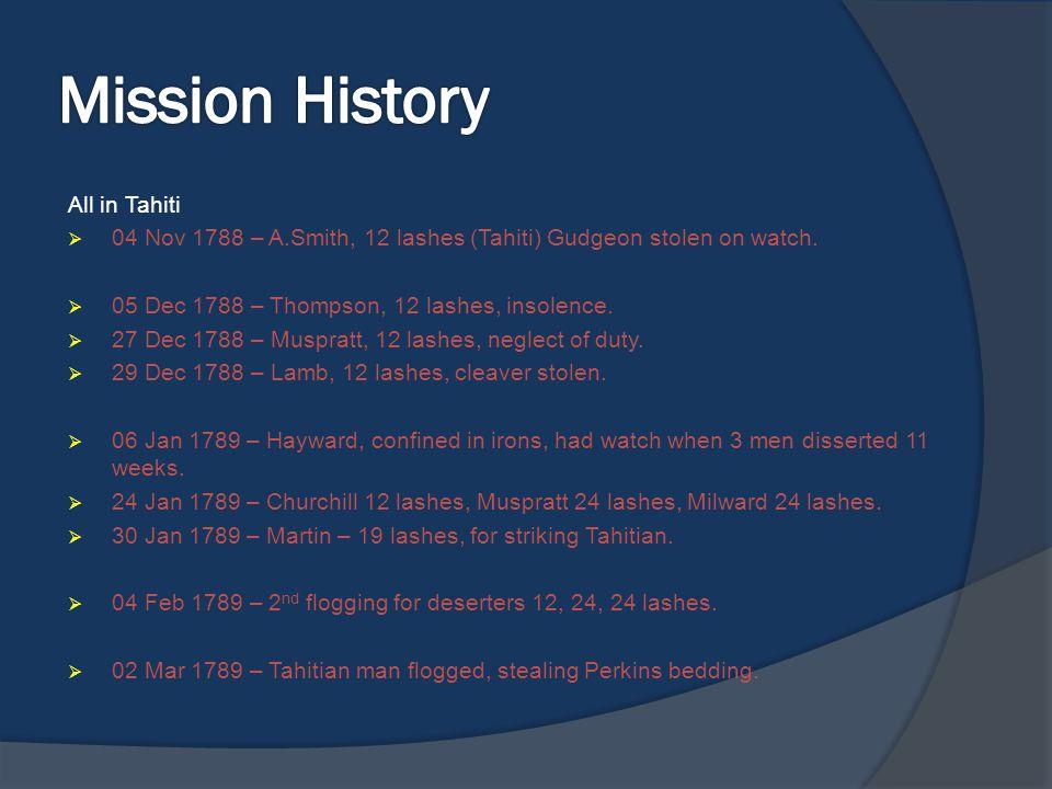 Mission History All in Tahiti