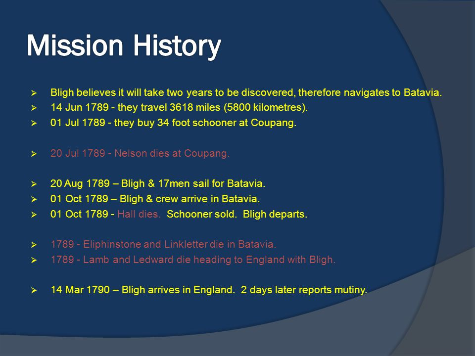 Mission History Bligh believes it will take two years to be discovered, therefore navigates to Batavia.