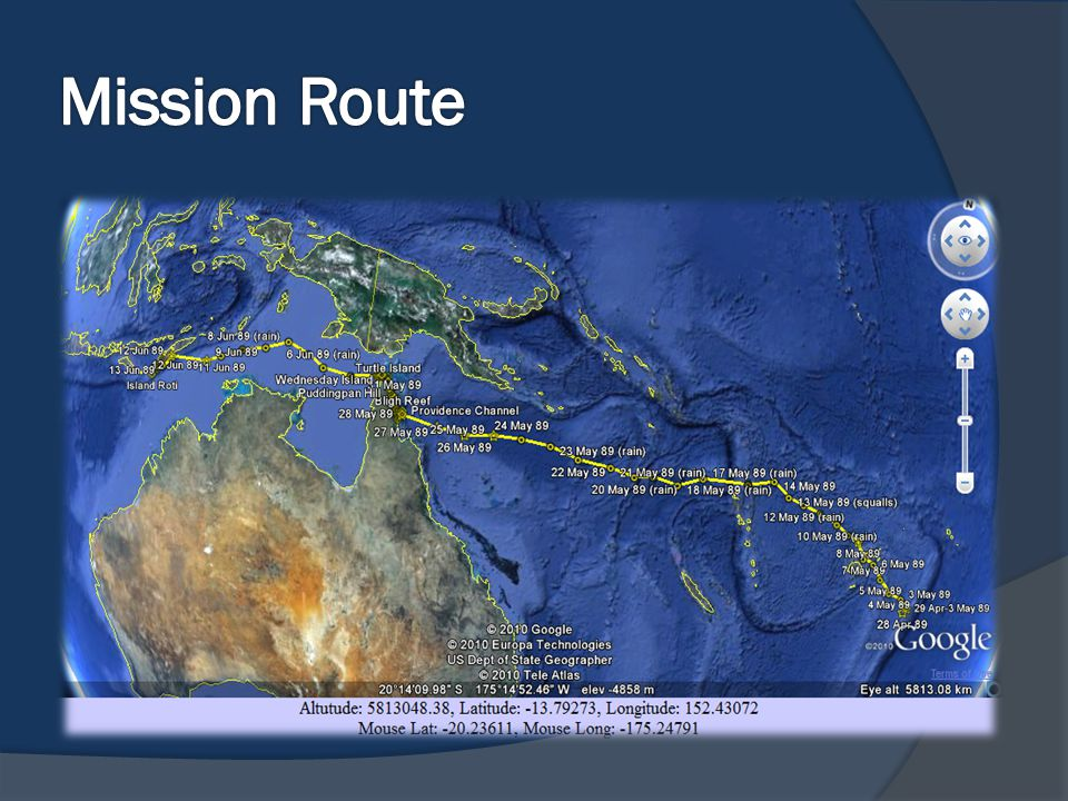 Mission Route 23 Dec 1987 – Bounty commanded by Capt William Bligh left Spithead.
