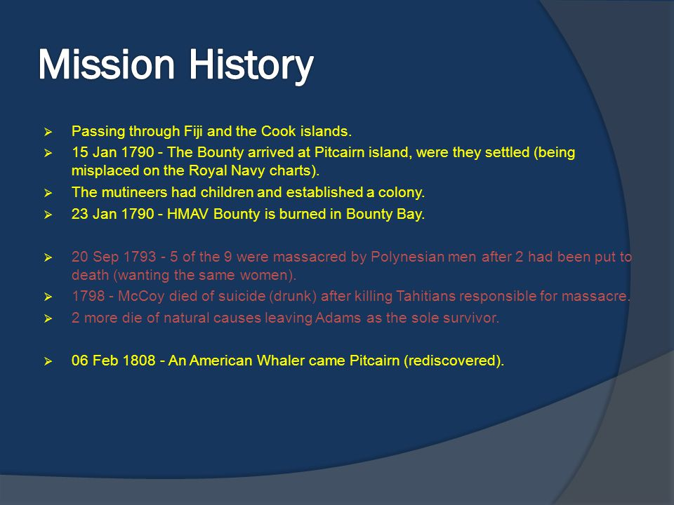 Mission History Passing through Fiji and the Cook islands.