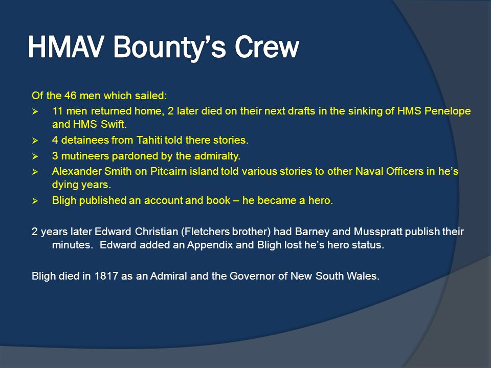 HMAV Bounty's Crew Of the 46 men which sailed: