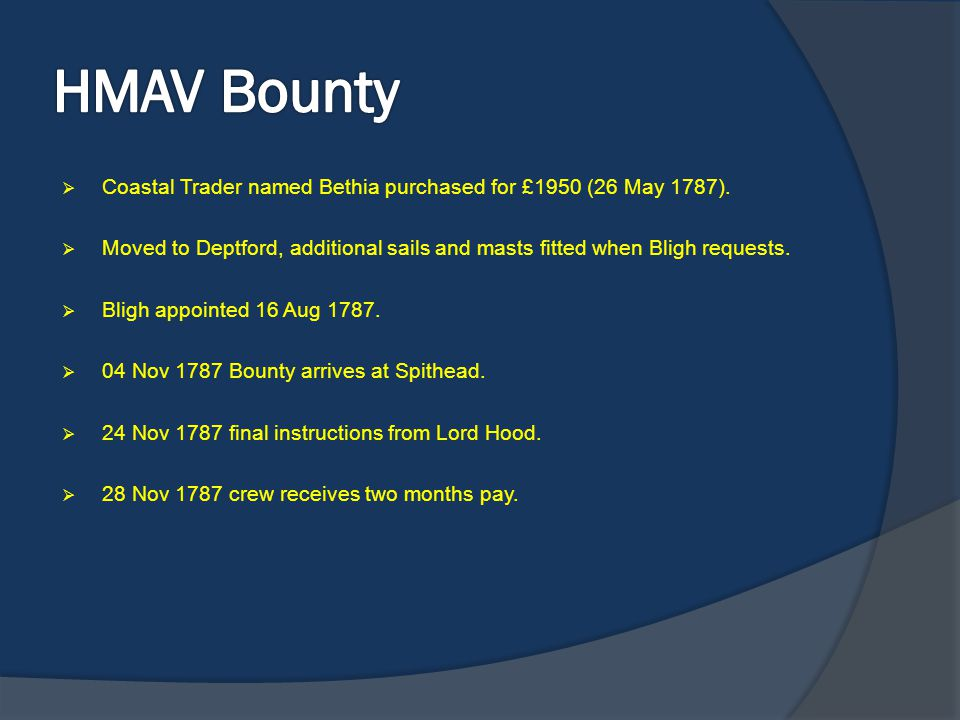 HMAV Bounty Coastal Trader named Bethia purchased for £1950 (26 May 1787). Moved to Deptford, additional sails and masts fitted when Bligh requests.
