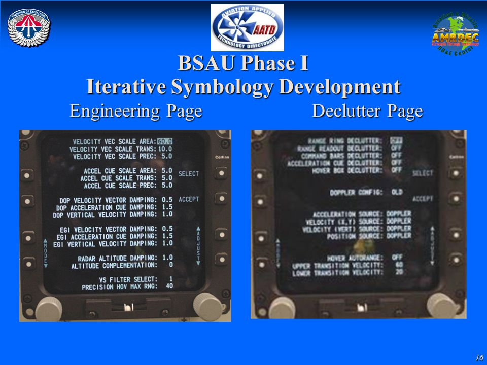 BSAU Phase I Iterative Symbology Development Engineering Page Declutter Page