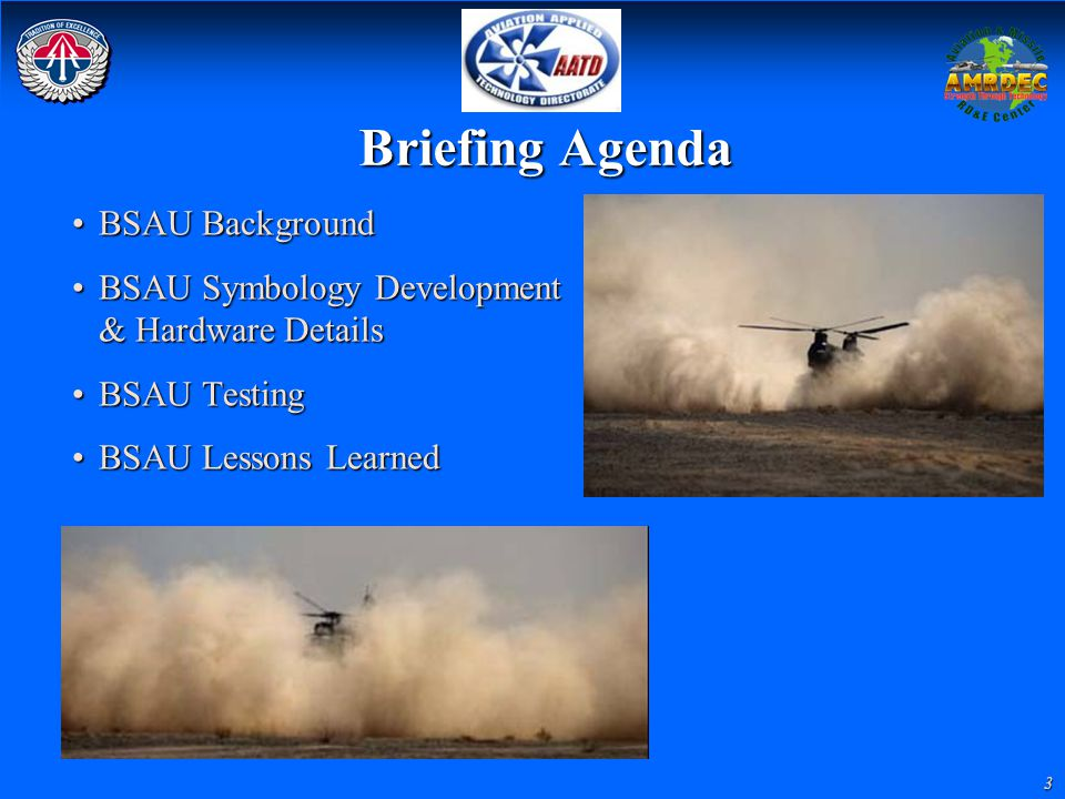 Briefing Agenda BSAU Background