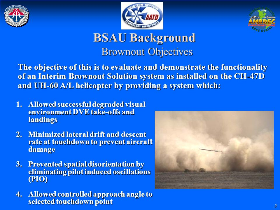BSAU Background Brownout Objectives