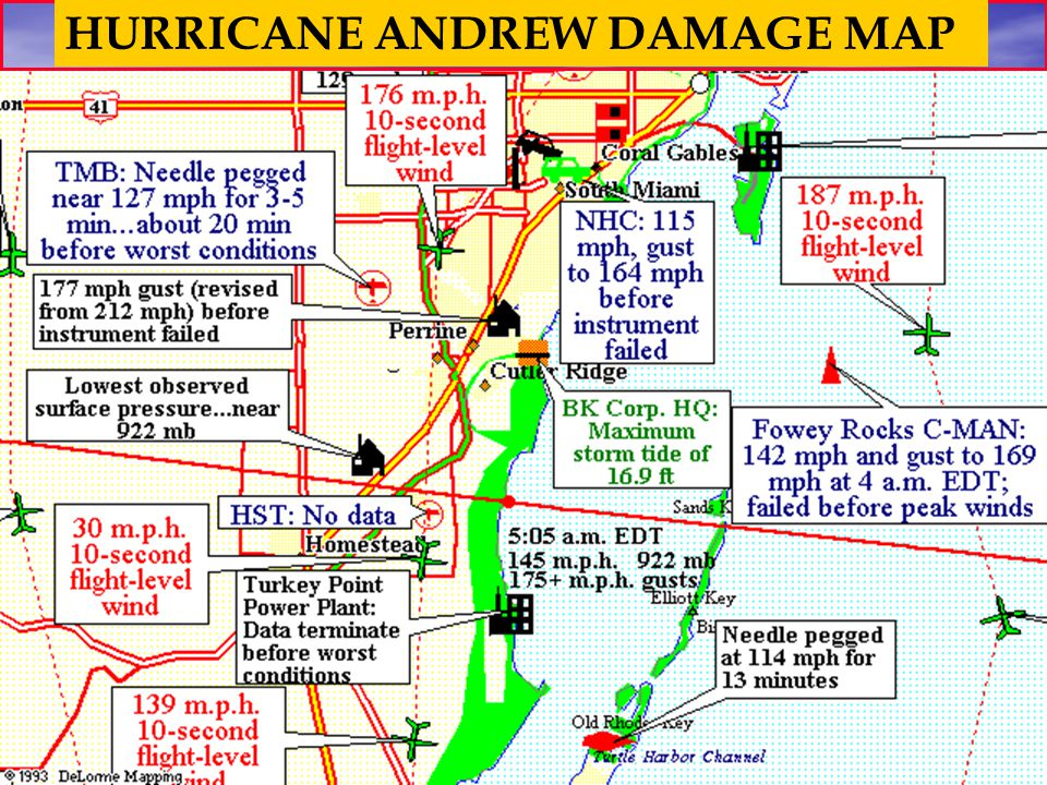 HURRICANE ANDREW DAMAGE MAP
