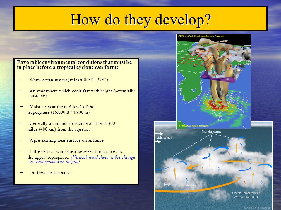 How do they develop Favorable environmental conditions that must be in place before a tropical cyclone can form: