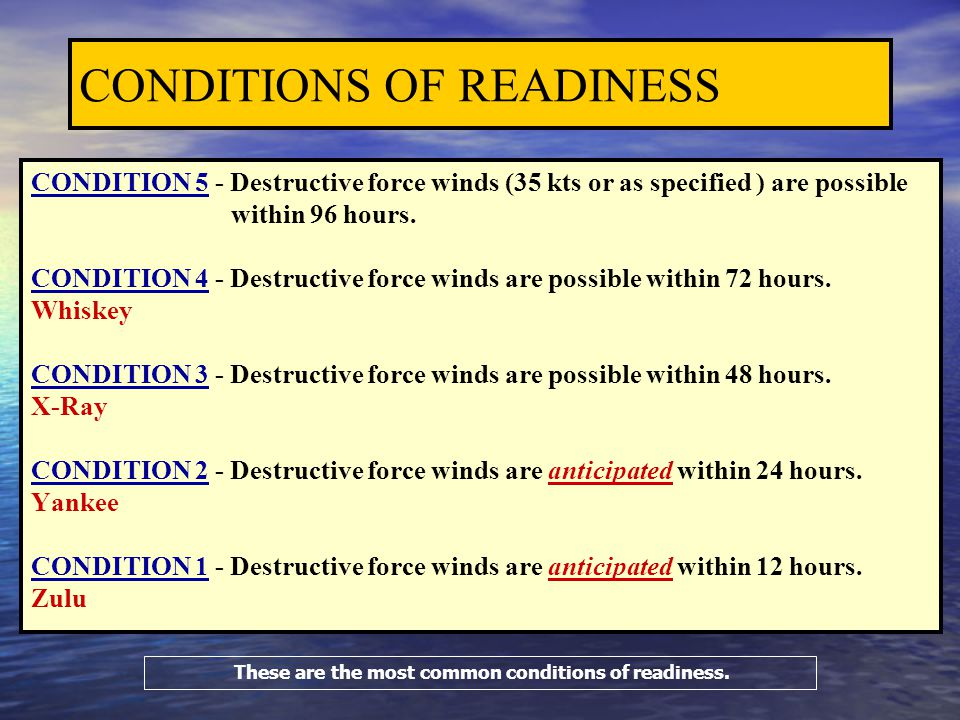CONDITIONS OF READINESS