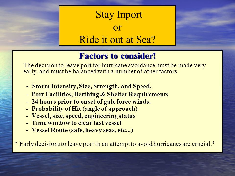 Stay Inport or Ride it out at Sea