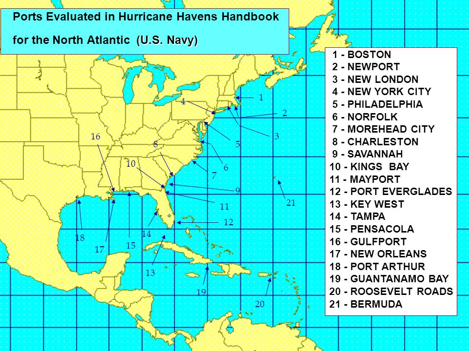 Ports Evaluated in Hurricane Havens Handbook for the North Atlantic (U