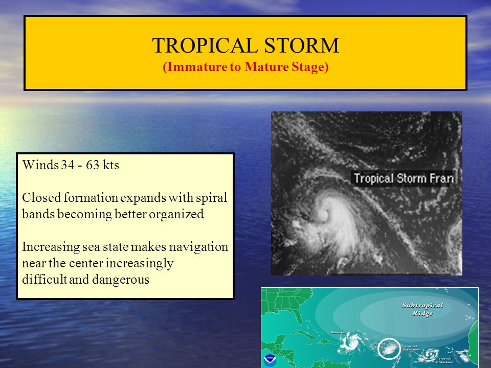 TROPICAL STORM (Immature to Mature Stage)