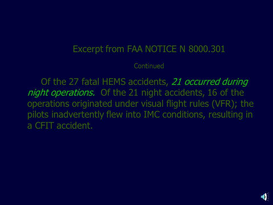 Excerpt from FAA NOTICE N 8000.301