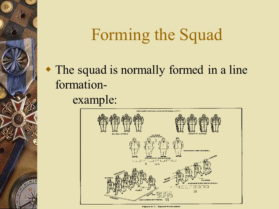 Forming the Squad The squad is normally formed in a line formation- example: