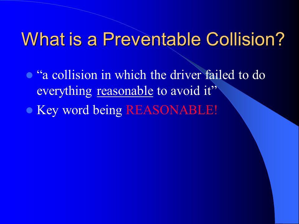 What is a Preventable Collision
