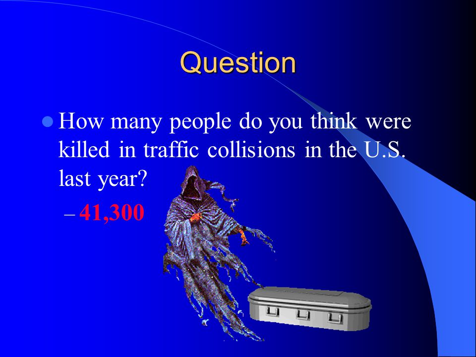 Question How many people do you think were killed in traffic collisions in the U.S.